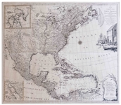 Stunning Hand-Colored Map of North America From 1784 Just After the Revolutionary War -- Large Four-Sheet Map Measures 46.875 x 41, in Exceptional Condition
