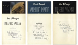 Walt Disney Lot of Three Signed Illustrated Books From the True-Life Adventures Nature Documentary Series -- Each Inscribed to Disney Cinematographer James Simon