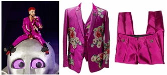 Adam Lambert Stage-Worn Suit From The Rhapsody Tour With Queen -- Three-Piece Suit Made by Dolce & Gabbana