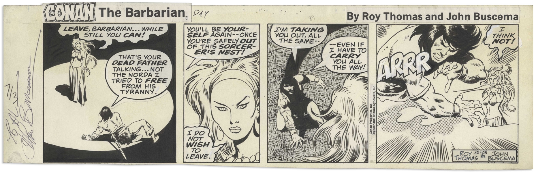 John Buscema Original ''Conan The Barbarian'' Strip From 1978
