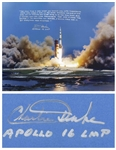 Charlie Duke Signed 20 x 16 Photo of the Apollo 16 Rocket Launch -- With a Handwritten Recollection About Nearly Losing His Life on the Moon: ...I would have had it...