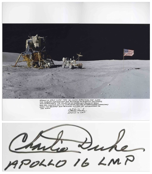 Charlie Duke Signed 20'' x 16'' Photo of the U.S. Flag Raised on the Lunar Surface -- With a Handwritten Inscription About the Mission: ''...Apollo 16 spent more than 20 hours exploring the moon...''