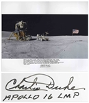 Charlie Duke Signed 20 x 16 Photo of the U.S. Flag Raised on the Lunar Surface -- With a Handwritten Inscription About the Mission: ...Apollo 16 spent more than 20 hours exploring the moon...