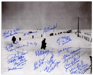 Photo Signed by 27 Survivors of the Battle of the Bulge, the WWII Battle With the Highest Number of Allied Casualties -- With PSA/DNA COA for All 27 Signatures