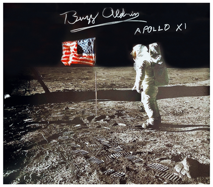 Buzz Aldrin Signed Canvas of the Iconic Apollo 11 Image Showing Aldrin Standing Next to the U.S. Flag -- Measures 24'' x 20''