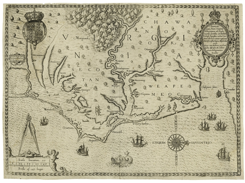 John White's Map of Virginia From 1590 -- The First Printed Map of Virginia and North Carolina
