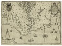 John Whites Map of Virginia From 1590 -- The First Printed Map of Virginia and North Carolina