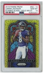 Lamar Jackson 2018 Panini Prizm Stained Glass Rookie Card -- Gold Mojo #SG-10 -- PSA Graded Gem Mint 10
