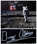 Buzz Aldrin Signed Canvas of the Iconic Apollo 11 Image Showing Aldrin Standing Next to the U.S. Flag -- Measures 24 x 20