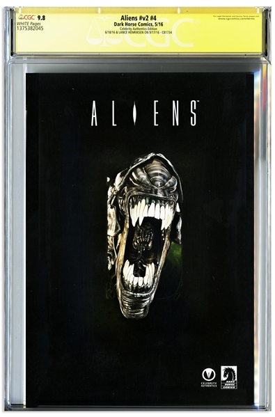 ''Aliens'' Cast-Signed Comic #4, Graded 9.8 -- Signed by 12 Key Cast Members Including Sigourney Weaver and Bill Paxton