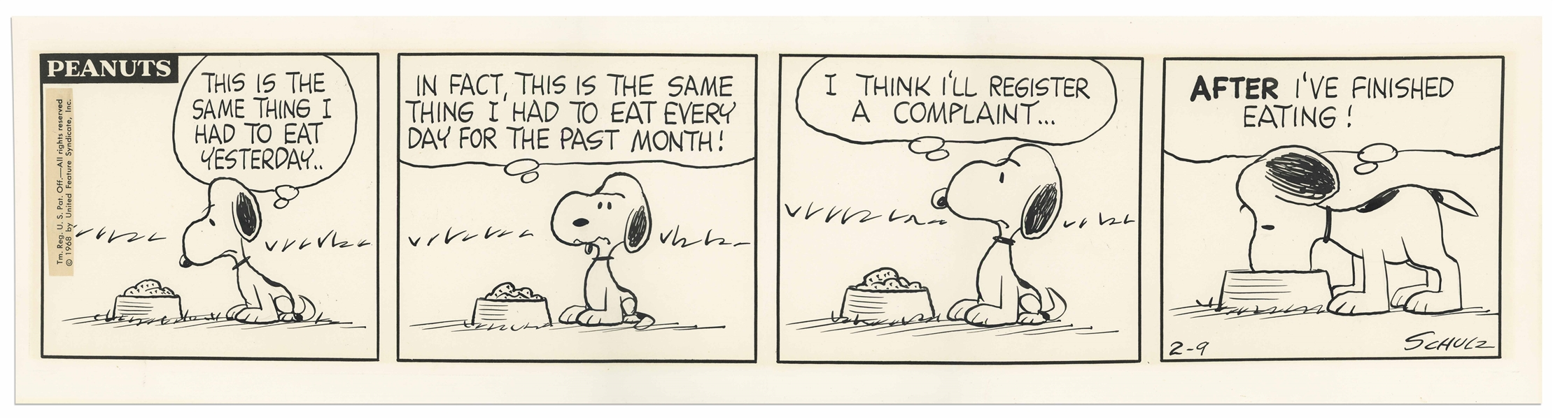 Charles Schulz Hand-Drawn & Inscribed ''Peanuts'' Comic Strip From 1968 Featuring Snoopy