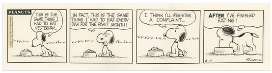 Charles Schulz Hand-Drawn & Inscribed Peanuts Comic Strip From 1968 Featuring Snoopy