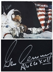 Gene Cernan Signed Moon Landing Artwork -- As Commander of the Apollo 17 Mission, Cernan Was the Last Man to Walk on the Moon -- With Novaspace COA