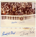Jimmy Carter & Gerald Ford Signed 14 x 11 Photo of Carters Presidential Inauguration
