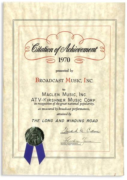 BMI Award for The Beatles Song ''The Long and Winding Road''