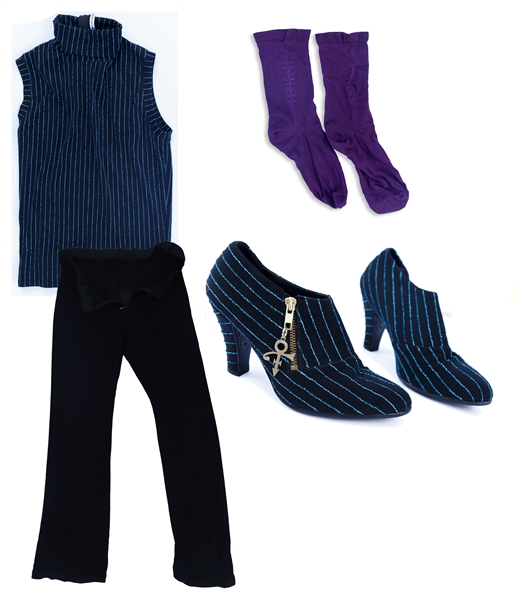 Prince Stage-Worn Outfit Including Shirt, Pants, Boots & His Purple Socks -- From the Jam of the Year World Tour, With Mayte's Garcia's LOA