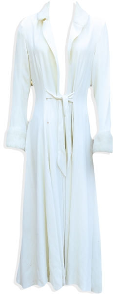 Prince Stage-Worn Full-Length White Jacket -- Originally Made for Prince to Wear at His Wedding to Mayte Garcia, Jacket Was Subsequently Worn During the Emancipation Tour