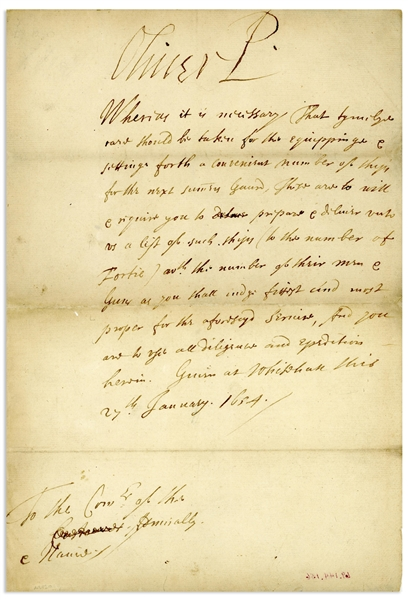 Oliver Cromwell Letter Signed ''Oliver P'' as Lord Protector of the Commonwealth
