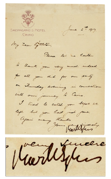 Sir Mark Sykes Letter Signed From 1917, During Negotiations of the Pro-Zionist Balfour Declaration