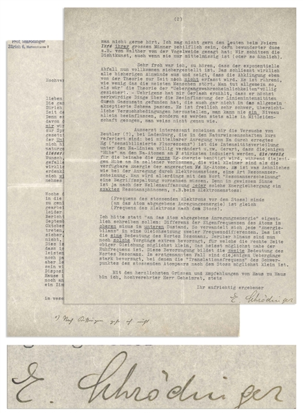 Erwin Schrodinger Lengthy Letter Signed From 1927, One Year After He Published the Schrodinger Equation, for Which He Won the Nobel Prize