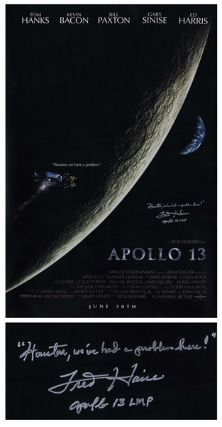 Fred Haise Signed Apollo 13 Movie Poster -- Houston, weve had a problem here!