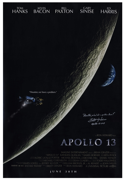 Fred Haise Signed Apollo 13 Movie Poster -- ''Houston, we've had a problem here!''