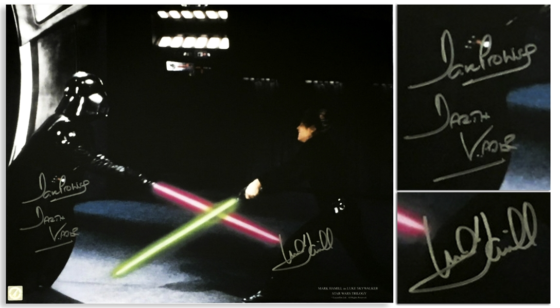 Mark Hamill and Dave Prowse Signed 20 x 16 Star Wars Photo Showing Their Famous Light Saber Duel