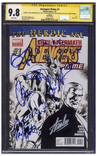 Avengers Prime Cast-Signed Comic #1, Graded 9.8 -- Signed by 8 Cast Members Plus Creator Stan Lee