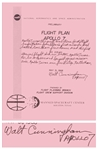 Walt Cunningham Signed Copy of the Apollo 7 Flight Plan -- Also With His Handwritten Reflections on the Mission ...Apollo 7 was our first step to the Moon...
