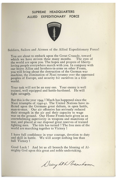 Dwight D. Eisenhower Signed D-Day Speech From the Limited Edition of ''Crusade in Europe'' -- Near Fine Condition