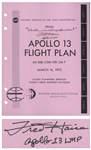 Fred Haise Signed Copy of the Apollo 13 Flight Plan -- Also With the Famous Mission Quote ...Houston, weve had a problem here!...