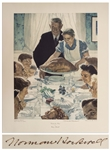Norman Rockwell Signed Freedom From Want Poster Measuring 29 x 35 -- Rockwell Uses Thanksgiving to Symbolize One of the Four Freedoms