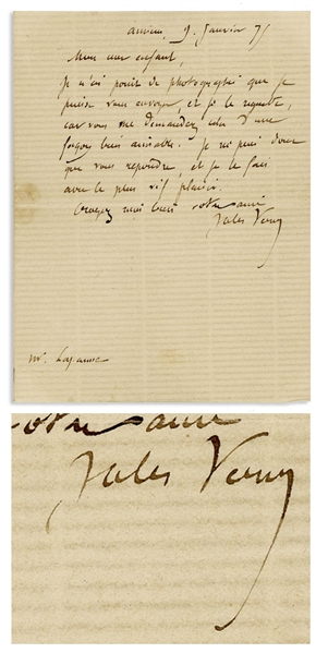 Jules Verne Autograph Letter Signed From 1875 -- ''...I can only answer you, and I do so with the greatest pleasure...''