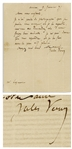 Jules Verne Autograph Letter Signed From 1875 -- ...I can only answer you, and I do so with the greatest pleasure...
