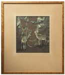 Original Snow White and the Seven Dwarfs Disney Cel -- Multi-Layered Cel of Two Deer, Vines, Foliage & Birds