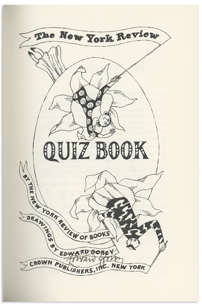Edward Gorey Signed First Edition of ''The New York Review Quiz Book'' -- With Delightful Gorey Illustrations Throughout