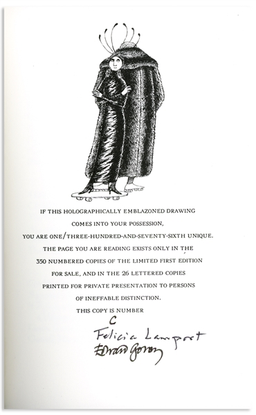 Edward Gorey Signed Limited First Edition of ''Light Metres'' -- One of the ''Lettered'' Limited Editions, Much Rarer Than the Numbered Limited Editions