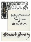 Edward Gorey Signed Limited First Edition of His Miniature Book Q.R.V. -- One of the Rarer Deluxe Copies Hand-Colored by Gorey