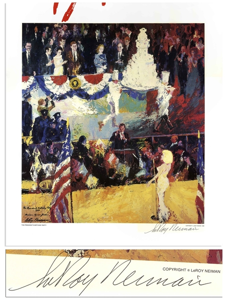Leroy Neiman Signed 24'' x 27.5'' Print of ''The President's Birthday Party'' -- Depicting Marilyn Monroe's Famous Serenade of ''Happy Birthday to You'' for JFK