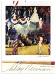 Leroy Neiman Signed 24 x 27.5 Print of The Presidents Birthday Party -- Depicting Marilyn Monroes Famous Serenade of Happy Birthday to You for JFK