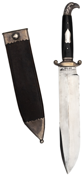 Civil War Era Graveley & Weaks Bowie Knife -- With Silver Eagle Head as Pommel & Housed in Leather Scabbard