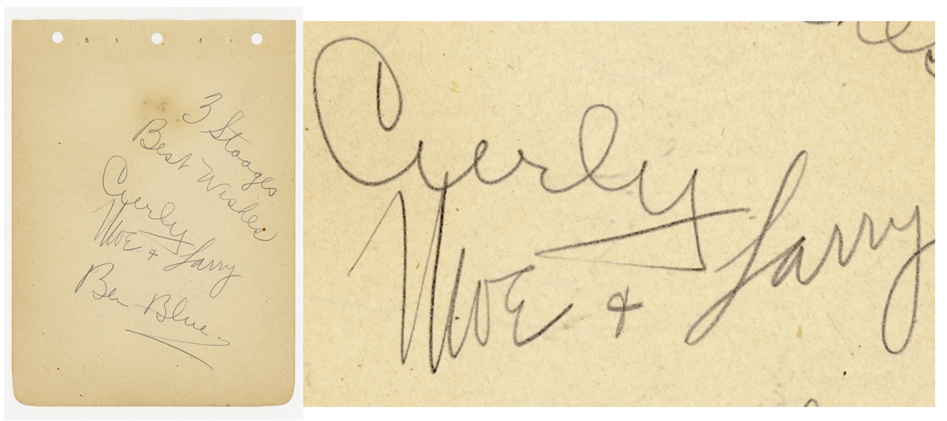 The Three Stooges Signed Album Page Including Curly's Signature -- Signed by Curly, Moe and Larry