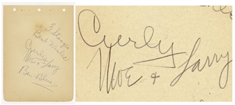 The Three Stooges Signed Album Page Including Curlys Signature -- Signed by Curly, Moe and Larry