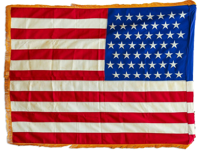 Scarce White House Flag With 49-Stars Signifying Alaska's Entry to the Union -- Displayed in the Eisenhower White House
