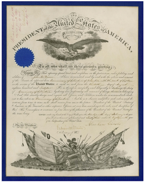 Abraham Lincoln Military Appointment Signed as President -- With Full ''Abraham Lincoln'' Signature