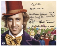 Willy Wonka Cast-Signed 20 x 16 Photo With Actors Adding Their Characters Names & Best Bits of Dialogue -- With PSA/DNA COA for All Six Signatures