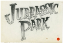 Original Jurassic Park Production Sketch Created in Development for the 1993 Film -- Misspelled Jurrassic Park