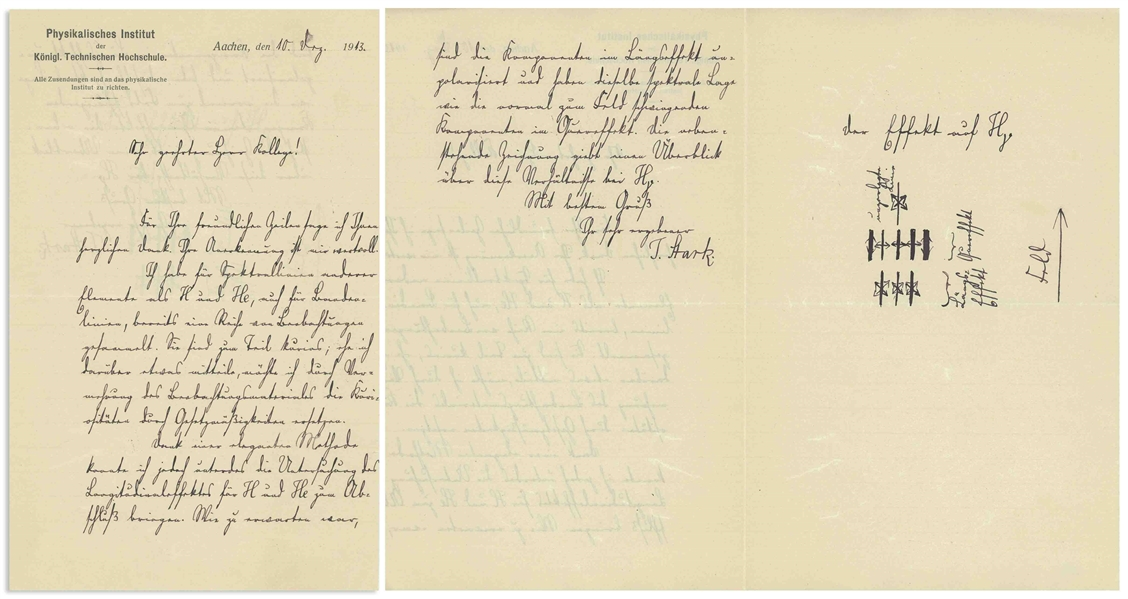 Johannes Stark Autograph Letter Signed in 1913, the Year He Discovered the Stark Effect, for Which He Won the Nobel Prize -- Letter Actually Discusses ''Odd'' Observations Regarding the Stark Effect