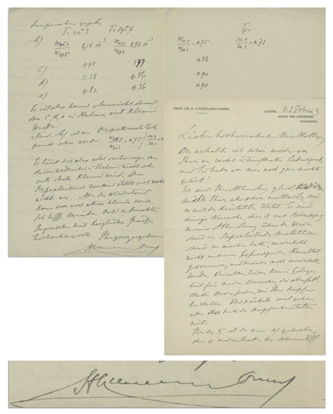 Heike Kamerlingh Onnes Autograph Letter Signed From 1913, the Year He Won the Nobel Prize for His Work on Superconductivity, the Topic of This Letter
