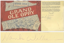 Hank Williams Signed Grand Ole Opry Radio Program